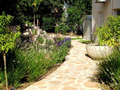 תכנון פיתוח שטח שביל אבנים עיצוב גינה