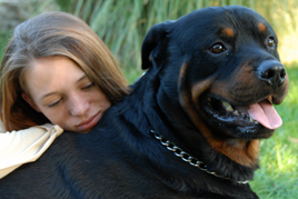 שיקום נוער במצוקה בעזרת כלבים ילדה מחבקת כלב