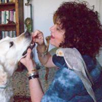 סרינה רון שטוסל עם תוכים, מאכילה כלב