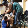 מדריכים עוזרים לנכה לעלות על סוס רכיבה טיפולית