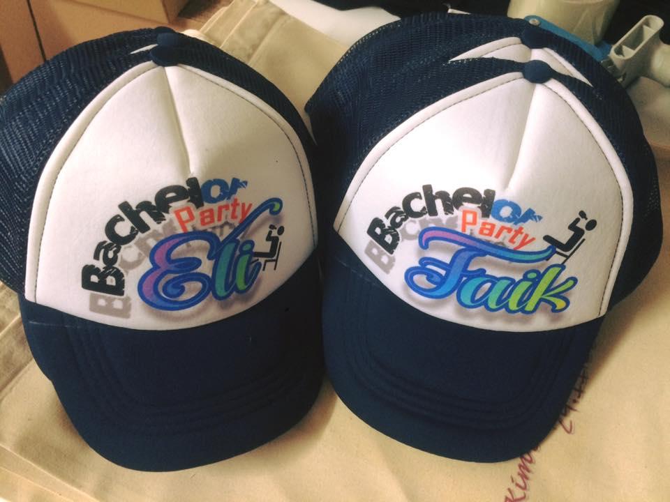כובעי רשת כחולים עם הדפסה צבעונית
