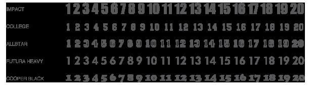פונטים של מספרים להדפסה על חולצות