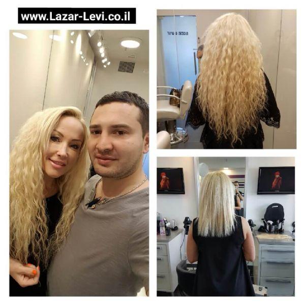 מילוי שיער בלונד בפתח תקווה לאזר לוי תוספות שיער