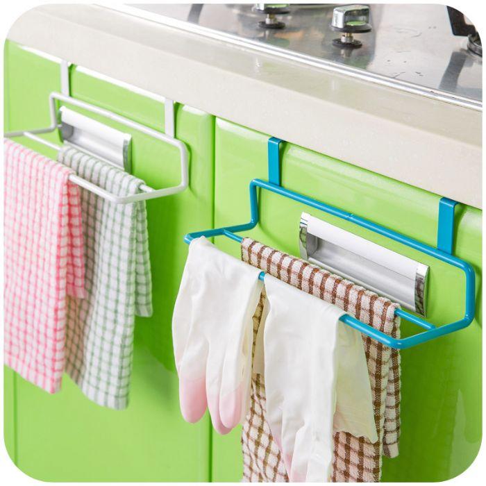 זוג מתלי מגבות לדלת הארון במטבח צבע כחול