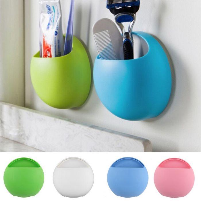 זוג מתלה וקום לארגון וסידור כלי האמבט צבע תכלת+ורוד