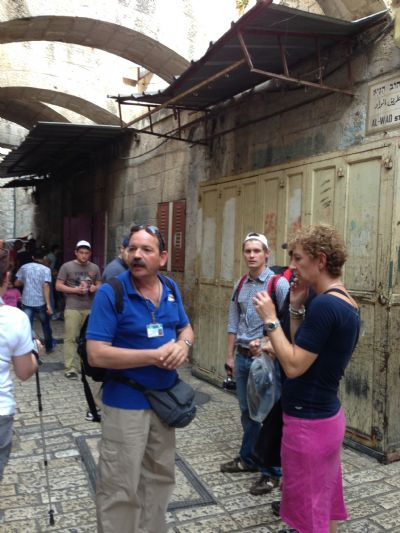 Benayah Blum guiding at the Via Dolorosa