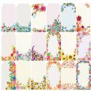 פרחים בצבעי מיים - 2 דפי תגיות