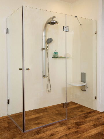 """מקלחון גדול תוצרת שטרן דגם-סאן פרנסיסקו פינתי-מידה 160-80 ס""""מ.צירים בלבד."""