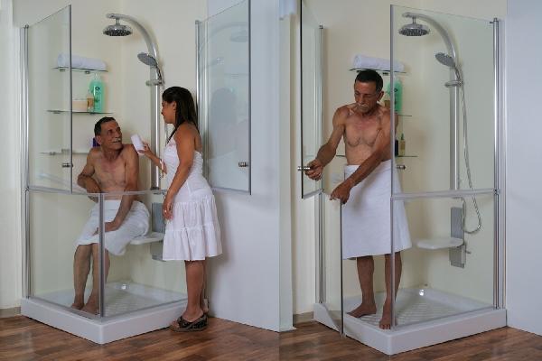 מקלחון דגם lux -תוצרת שטרן כחול לבן.לפי מידה בבית.רחיצה ילד-מבוגר והרוחץ אינו נרטב.