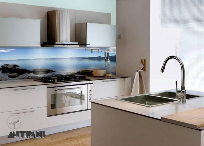 חיפוי זכוכית למטבח דוגמא-8 כחול הים נופים.