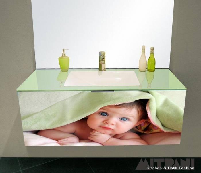 חדש-חיפוי זכוכית מודפסת בחזית ארון אמבט -ניתן לשלב בארון דגם נרקיס יבוא HB אמבט חלומי.