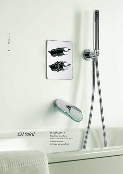 מערכת טרמוסטטית לאמבטיה עם פיית מילוי ומזלף-סדרת מורגנה תוצרת איטליה.
