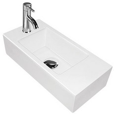 """כיור קטן במיוחד מלבני מונח או תלוי דגם 519 מידות-40רוחב ועומק 19 ס""""מ.מומלץ בשירותים קטנים."""