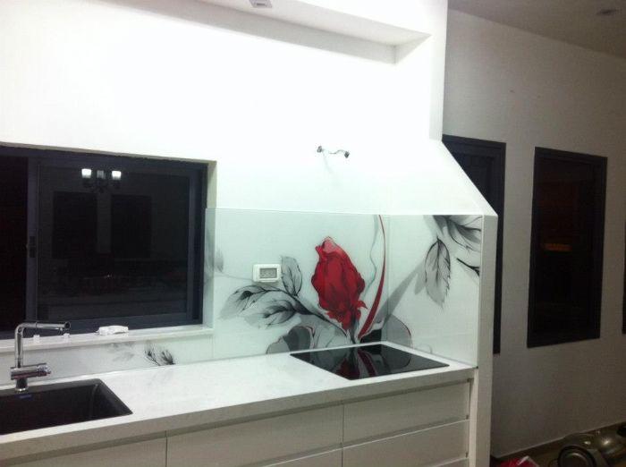 חיפוי זכוכית מודפסת-פרח אדום דוגמא 342