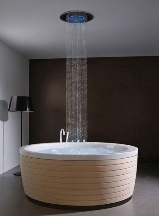 ראש מקלחת עגול או מרובע צמוד תקרה בשילוב תאורה-במבחר גדלים