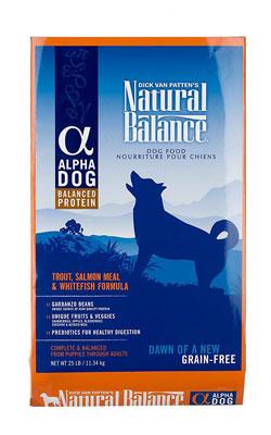"""מזון לכלב נטורל באלנס אלפא פורל, סלמון ודג לבן 11.3 ק""""ג"""