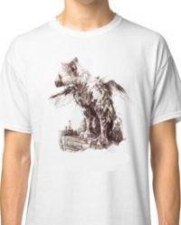 חולצת טריקו לבנה מודפסת