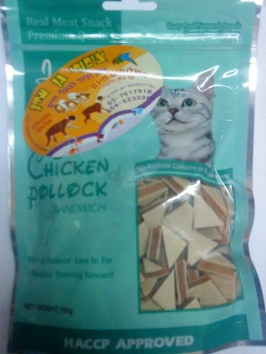 חטיף לחתול ג'רקי טיים סנדויץ' משולש עוף ודג פולוק