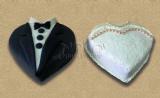bride and groom cakes - עוגות לחתן כלה - עם חליפת טוקסידו ושמלת כלה