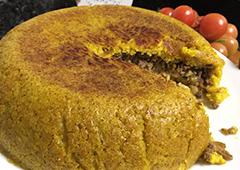 עוגת בורגול במלית ירקות (כרוב גזר בצל ופטריות) ובשר טחון