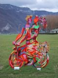 """Spring Riders, 2003. Painted cutout steel, Height 250 cm From the outdoor exhibition  """"Des Cyclistes en Ville""""  Fête des Alpes, Annecy, France"""