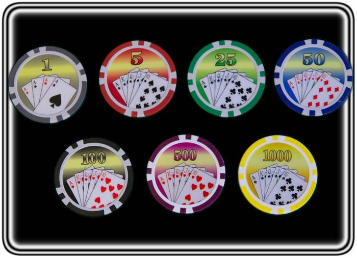 ז'יטונים מניפת קלפים 11.5 גר' במבחר צבעים