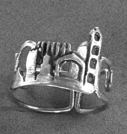 """טבעת  כסף """"ירושלים בין החומות"""""""