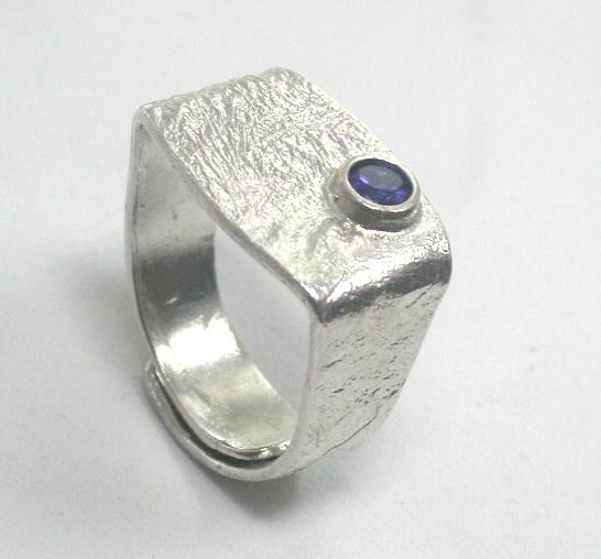 טבעת כסף מלבנית