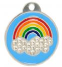 תג שם עגול קשת עם אבני סברובסקי קטן Swarovski rainbow tag