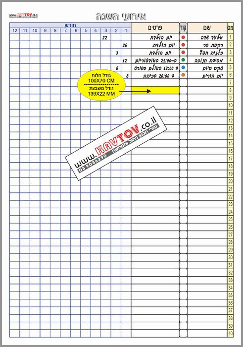 תכנון אירועים שנתיים, דגם kts481