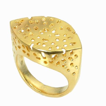 טבעת אאורה מחורר זהב