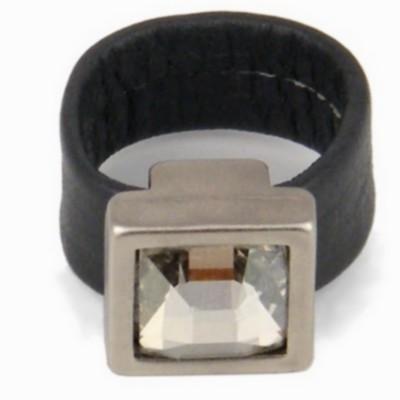 טבעת קוקטייל מרובעת כסף הגר סתת עור אפור
