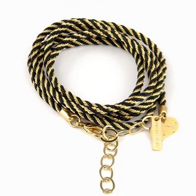 צמיד שרשרת מגולגל הגר סתת שחור זהב