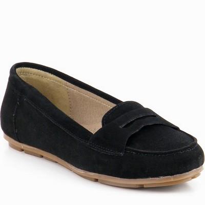 נעל מוקסין עור זמש גויה שחור