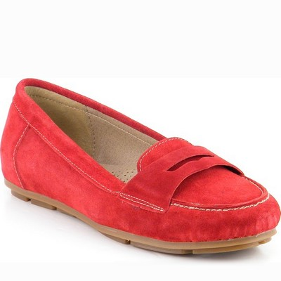 נעל מוקסין עור זמש גויה אדום
