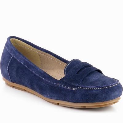 נעל מוקסין עור זמש גויה כחול