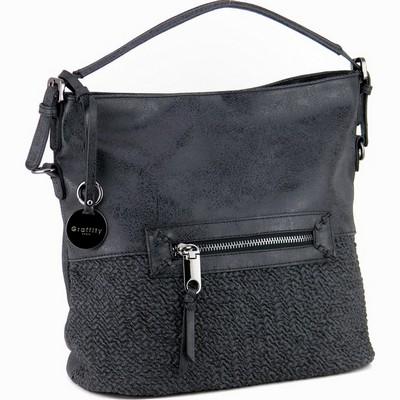 תיק אופנה סקאי סל גרפיטי שחור