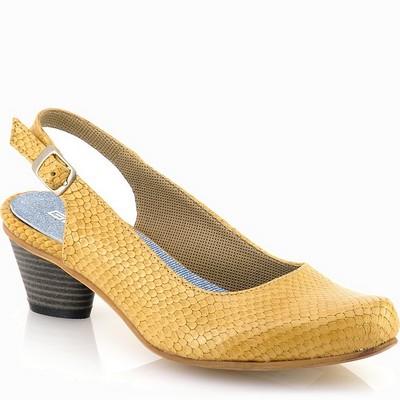 נעלי נשים גויה סנדל בובה עקב חרדל