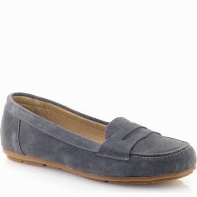 נעל מוקסין עור זמש גויה כחול אפור