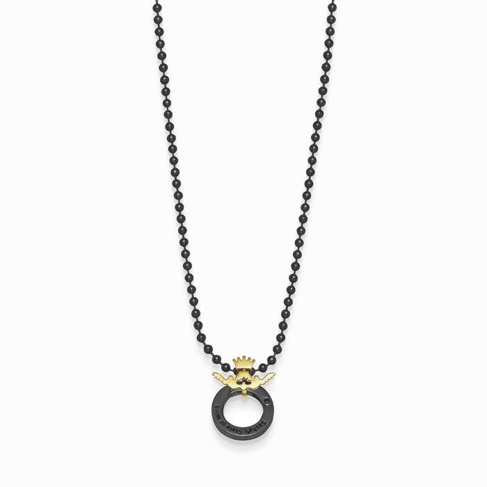 """שרשרת אופנה סאשה דיסקית 3 מ""""מ שחורה לוגו זהב"""