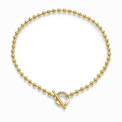 """שרשרת אופנה סאשה דיסקית 6 מ""""מ קצרה טוגל זהב"""