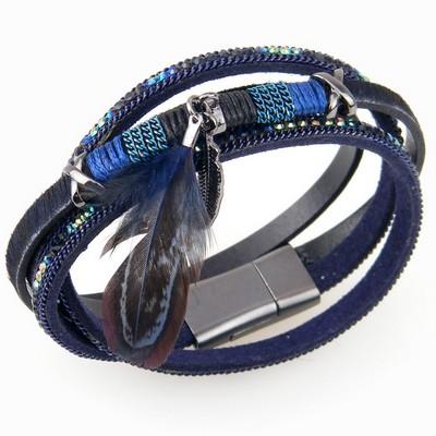 צמידים סאשה צמיד עור נוצות כחול כהה משובץ
