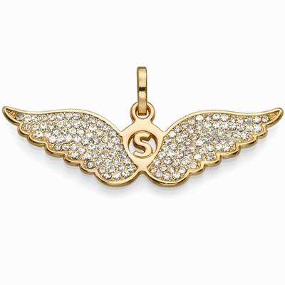 תליונים סאשה תליון כנפיים זהב משובצות לבן