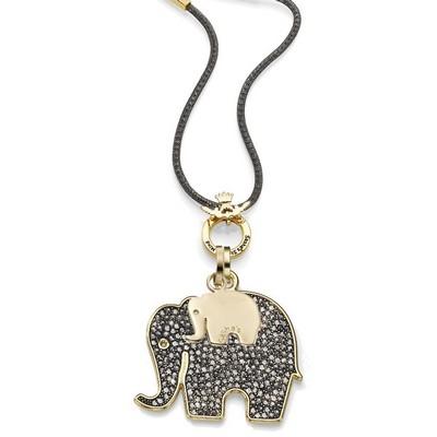 שרשרת אופנה סאשה מוזאיק אפור זהב תליון פיל גדול ופיל קטן זהב