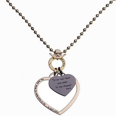 שרשרת סאשה זהב ארוכה תליון לב חלול גדול ותליון לב שחור