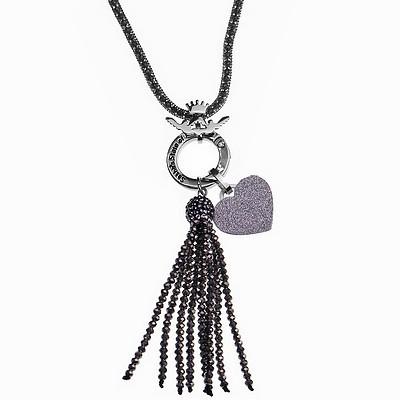שרשרת סאשה מוזאיק תליון גדיל אבנים שחור ותליון לב אבנים