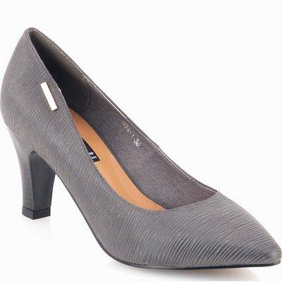 נעלי נשים גויה נעל עקב אפור פסים