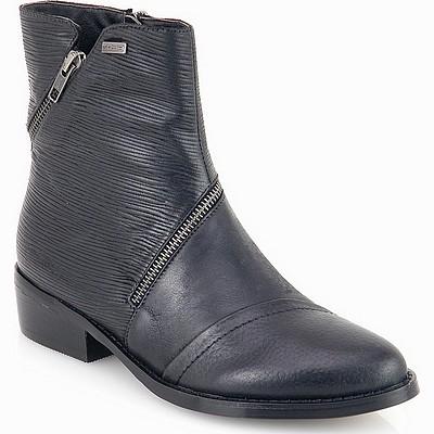 מגפיים לנשים גויה מגפון משולב פסים רוכסן שחור