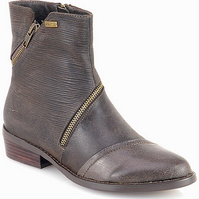 מגפיים לנשים גויה מגפון משולב פסים רוכסן אפור