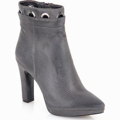 מגפיים לנשים מגפון עקב טבעות גויה אפור
